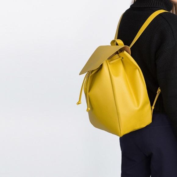 842928cfb81 Zara Bags | Nwt Yellow Backpack | Poshmark
